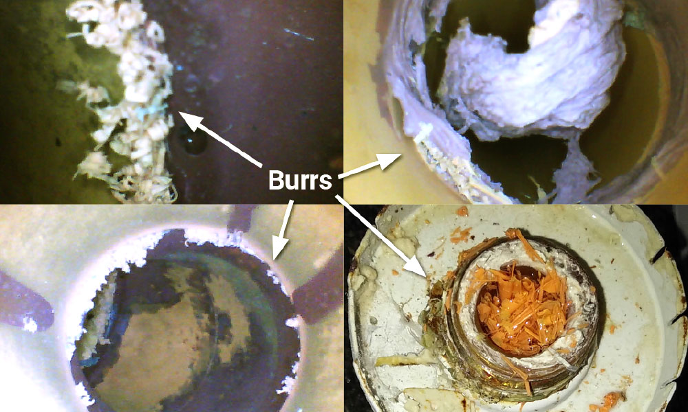 Failure to remove burrs from ends of pipes cause sprinkler heads to plug