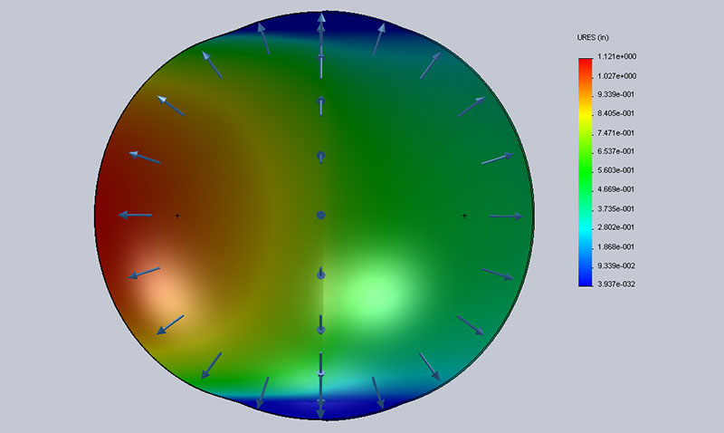 Computer model of ball with thickness variation shown