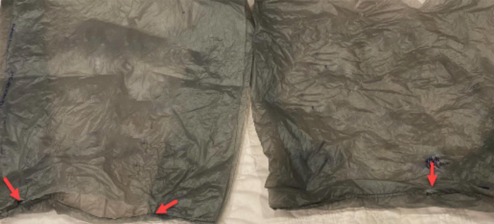 Plastic bag failure points